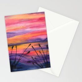 Vivid Sunset - Watercolor Painting Stationery Cards