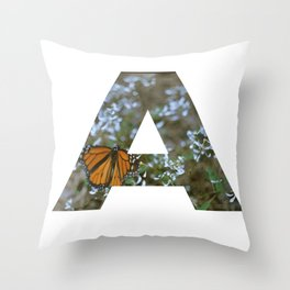 """A"" Initial Butterfly Throw Pillow"