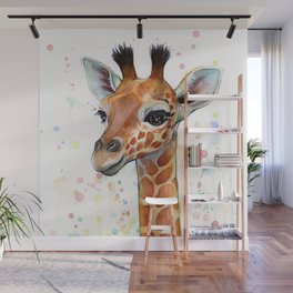 Giraffe Baby Watercolor Wall Mural