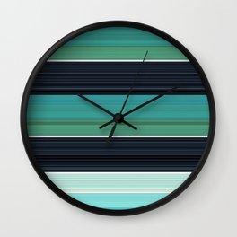 Solid Aqua Teal Black Stripes Wall Clock