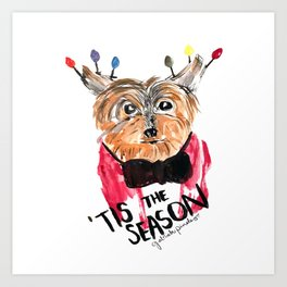 Holiday Dog, Tis the Season, Pinales Illustrated Art Print