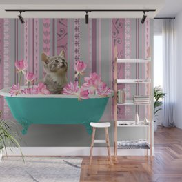 Turquoise Bathtub wit grey Kitty Cat and Lotus Flowers Wall Mural