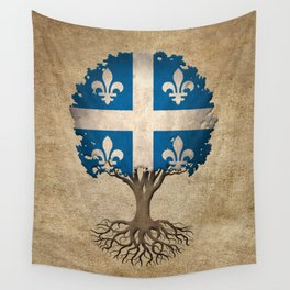 Vintage Tree of Life with Flag of Quebec Wall Tapestry