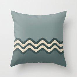 Night Watch & Alpaca Wool Cream Wavy Horizontal Stripes on Juniper Berry & Scarborough Green Throw Pillow