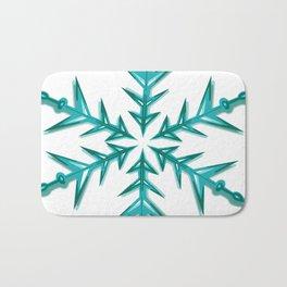 Minimalistic Aquamarine Snowflake Bath Mat