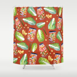 Kimchi Ingredients Spicy Fun Fermentation Watercolor Red Shower Curtain