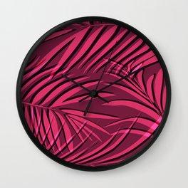 Red palm leaf Wall Clock