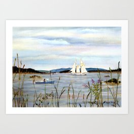Sailing through Stonington Harbor, Maine. From watercolor painting by Pamela Parsons. Art Print