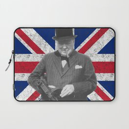 Winston Churchill Posing With A Tommy Gun Laptop Sleeve