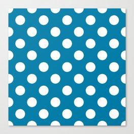 Celadon blue - blue - White Polka Dots - Pois Pattern Canvas Print