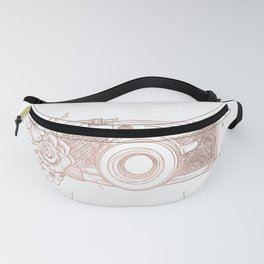 Floral Camera Pink Rose Gold Fanny Pack