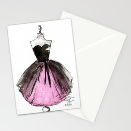 Pink and Black Sheer Dress Fashion Illustration Stationery Cards