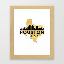HOUSTON TEXAS SILHOUETTE SKYLINE MAP ART Framed Art Print