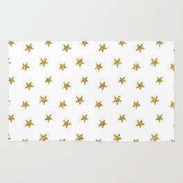 Merry christmas-Stars shining brightly-Gold glitter pattern Rug