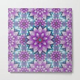 Pink- purple - turquoise Faux stitch pattern Metal Print