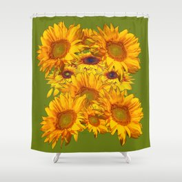 Avocado Color Sunflowers Abstract Art Shower Curtain