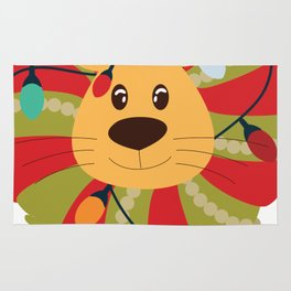 Your Big Cat in Decorative Christmas Wreath Rug