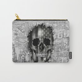usa black and white skull Carry-All Pouch