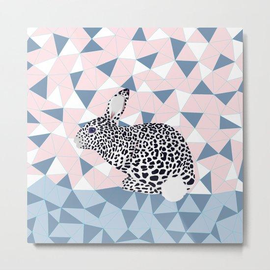 Cute Rabbit Leopard Pattern Design Metal Print