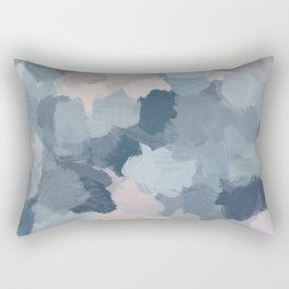 Mint Aqua Navy Indigo Blue Blush Pink Abstract Nature Ocean Painting Art Print Wall Decor  Rectangular Pillow