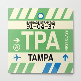 TPA Tampa • Airport Code and Vintage Baggage Tag Design Metal Print
