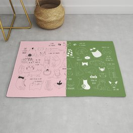 Cute Cat Doodles on pink and green Rug