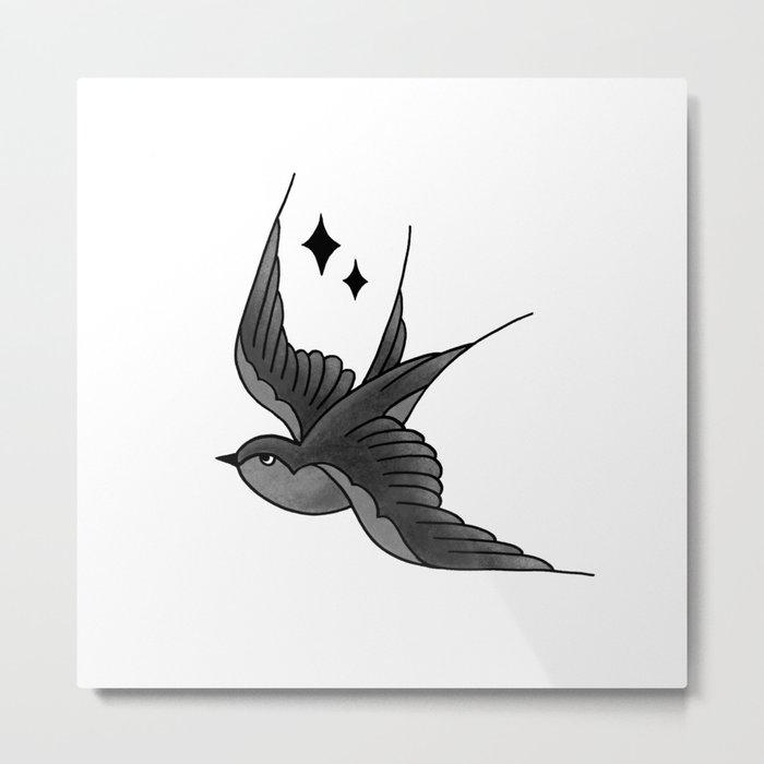 Swallow Flash - mono Metal Print