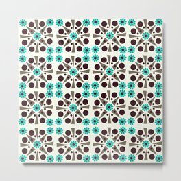 Gem Tiles Turquoise Metal Print