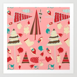 Vintage Christmas Pink Art Print