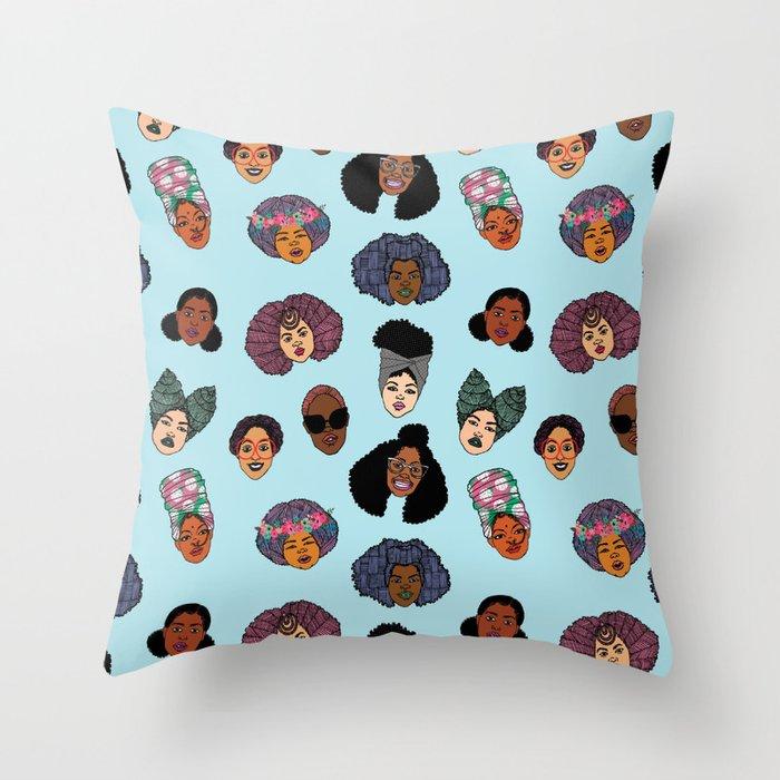 Black Hair Magic - Blue Throw Pillow