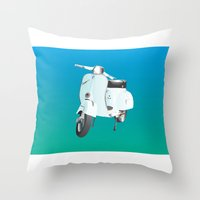 vespa Throw Pillows featuring Vespa by Frivolous Designs