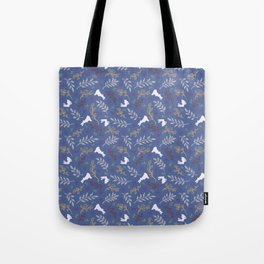 Ditsy Bunnies Amok - Lt Bunnies, Blue Background Tote Bag