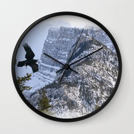Mt Rundle & Raven (Canadian Rockies) Wall Clock