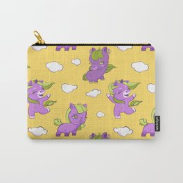 Cute little purple unicorns in the yellow sky, seamless pattern Carry-All Pouch