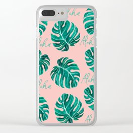 Aloha script tropical emerald green monstera leaves on pink blush Clear iPhone Case