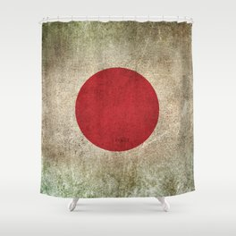 Old and Worn Distressed Vintage Flag of Japan Shower Curtain