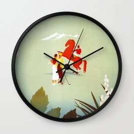 Horse riding, golf and tennis in 1920s Merano Wall Clock