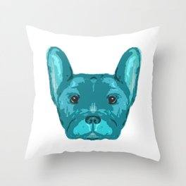 Teal Frenchie Top. Throw Pillow