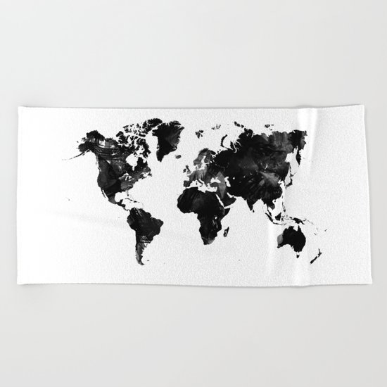 Black watercolor world map Beach Towel