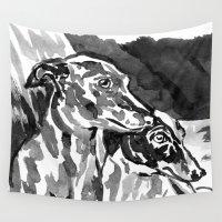 greyhound Wall Tapestries featuring Greyhound -2 by Jenn Steffey
