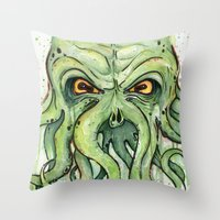 cthulhu Throw Pillows featuring Cthulhu by Olechka