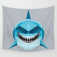 nemo Wall Tapestries featuring S is for Shark by LinnMaria_ink