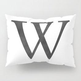 Letter W Initial Monogram Black and White Pillow Sham