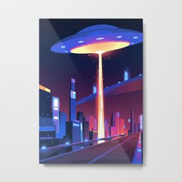 Synthwave Neon City #18 Metal Print