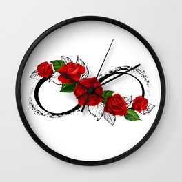 Infinity Symbol with Red Roses Wall Clock