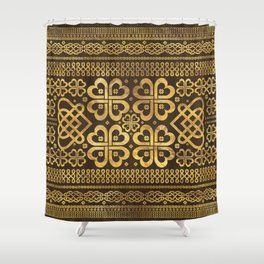 Shamrock Four-leaf Clover Wood and Gold Shower Curtain