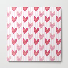 Blush pink white stripes heart mother's day typography Metal Print