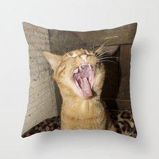 Kitty Yawn Throw Pillow