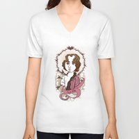 oscar wilde V-neck T-shirts featuring Oscar Wilde Holy Writer by roberto lanznaster