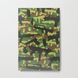 Military Camouflage Neck Gator Weapons Metal Print